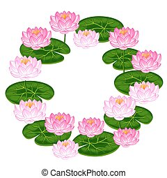 Natural frame with lotus flowers and leaves. Image for invitations, greeting cards, posters, flayers
