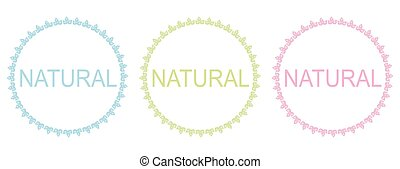 Natural frames, labels over white background