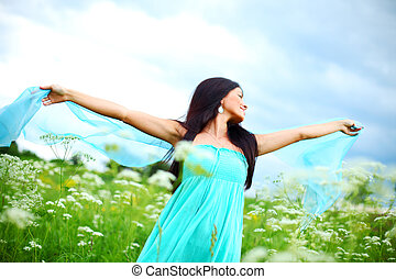 natural freedom - woman fabric in hands feel freedom
