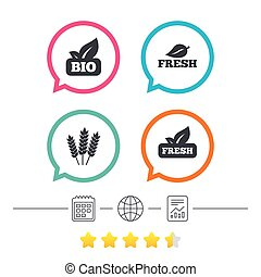 Natural fresh Bio food icons. Gluten free agricultural sign...