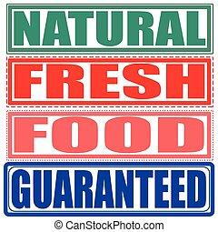 natural, fresh, food, guaranteed set stamp