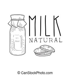 Natural Fresh Milk Product Promo Sign In Sketch Style With Bottle And Biscuits, Design Label Black And White Template