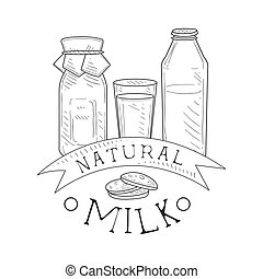 Natural Fresh Milk Product Promo Sign In Sketch Style With Bottles And Cookies , Design Label Black And White Template