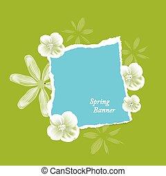 natural, fundo, com, flores, e, papel rasgado