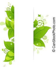 natural, fundo, com, folhas, e, gotas
