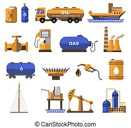 Natural gas and oil industry icons with petroleum ...
