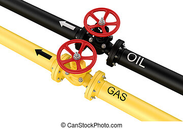 Natural gas and oil mains. Deliveries of resources. isolated...
