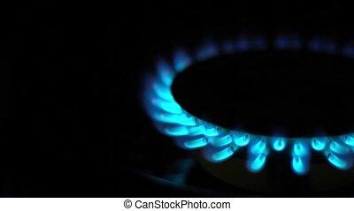 Natural gas blue flames
