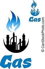 Natural gas extraction factory icon with blue gas flame for...