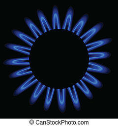 Natural gas flame,