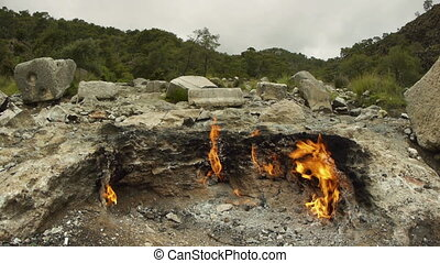 Natural gas flames on Mount Chimera, Olympos, Turkey