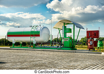 Natural gas fuel tank at car filling station