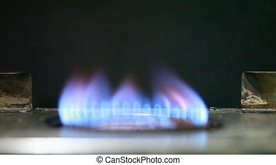 natural gas - Gas-stove on the black background
