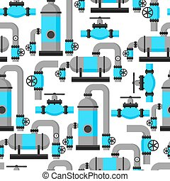 Natural gas heat exchanger, control valves and storage. Industrial seamless pattern