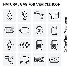natural gas icon - Tank and transportation icon of natural...
