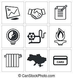 Natural gas industry icon collection