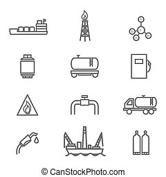 Natural gas line icons set. Petroleum and gasoline, power...