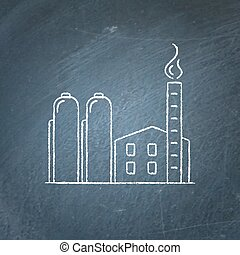 Natural gas plant icon chalkboard sketch - Natural gas plant...