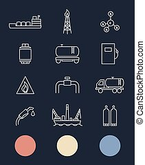 Natural gas. Production and transportation flat icons....