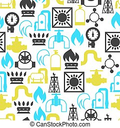 Natural gas production, injection and storage. Industrial seamless pattern