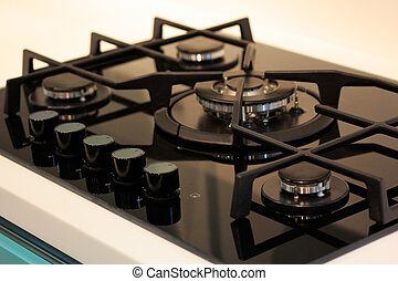 gas range cooker - Natural gas range cooker with black...
