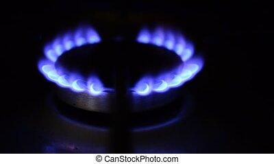 Natural gas stove burner blue flame.