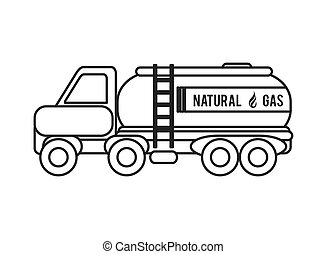 natural Gas Truck icon - flat design natural Gas Truck icon...