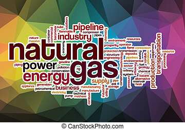 Natural gas word cloud with abstract background