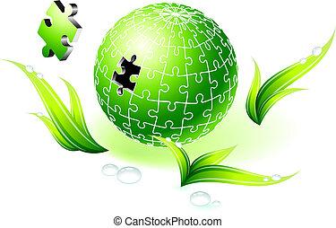 natural, globo, verde, quebra-cabeça, incompleto