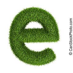 Letter e lowercase photo realistic grass ecology theme on white