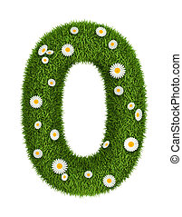 Number 0 photo realistic grass font with flower camomile