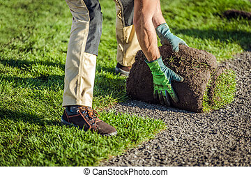Natural Grass Turfs Installation by Garden Worker