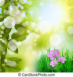 Natural green background with flowers