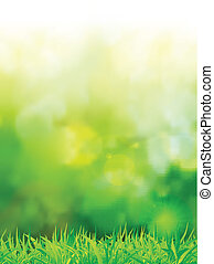 natural green background with selective focus. Vector illustration