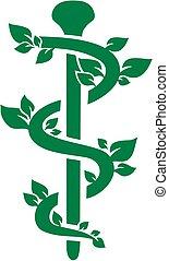 Natural green caduceus for Alternative Practitioner