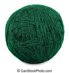 Natural green fine wool ball and thread isolated clew macro...