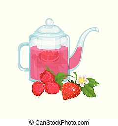Natural green herbal tea in a glass transparent teapot with fresh ripe raspberry and strawberry vector Illustration