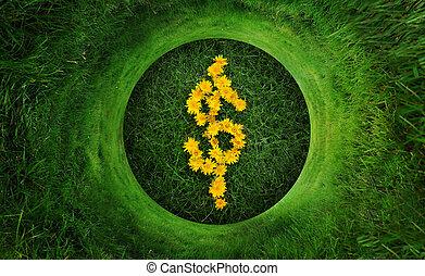Natural Green Money Dollar Symbol