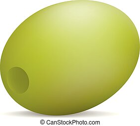 Natural green olive icon, realistic style