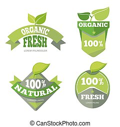 Natural green organic eco labels set