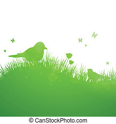 Natural Green Vector Background - Vector Illustration of a...