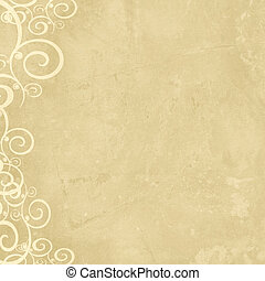 Natural grunge shabby old paper with swirl left border -...