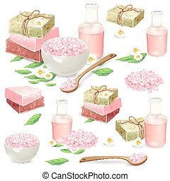 Natural handmade cosmetics for spa vector set