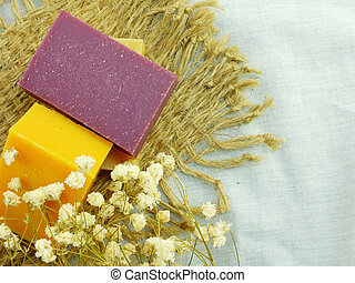 natural handmade herbal soap spa with bath sponge