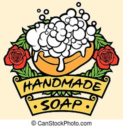 natural handmade soap label (handmade soap with foam)