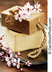 Natural handmade soap with cherry plum flowers