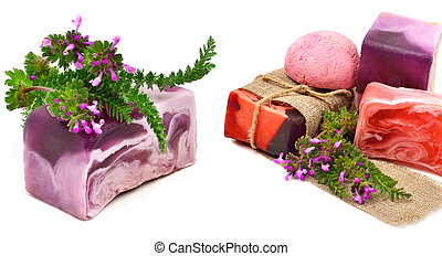 Natural handmade soap with herbs isolated