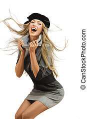 Natural happiness. - A portrait of a laughing young woman in...