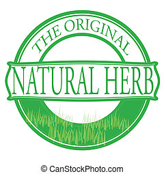 Natural herb - Stamp with text natural herb inside, vector...