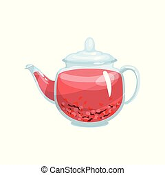 Natural herbal tea in a glass transparent teapot with aroma herbs vector Illustration